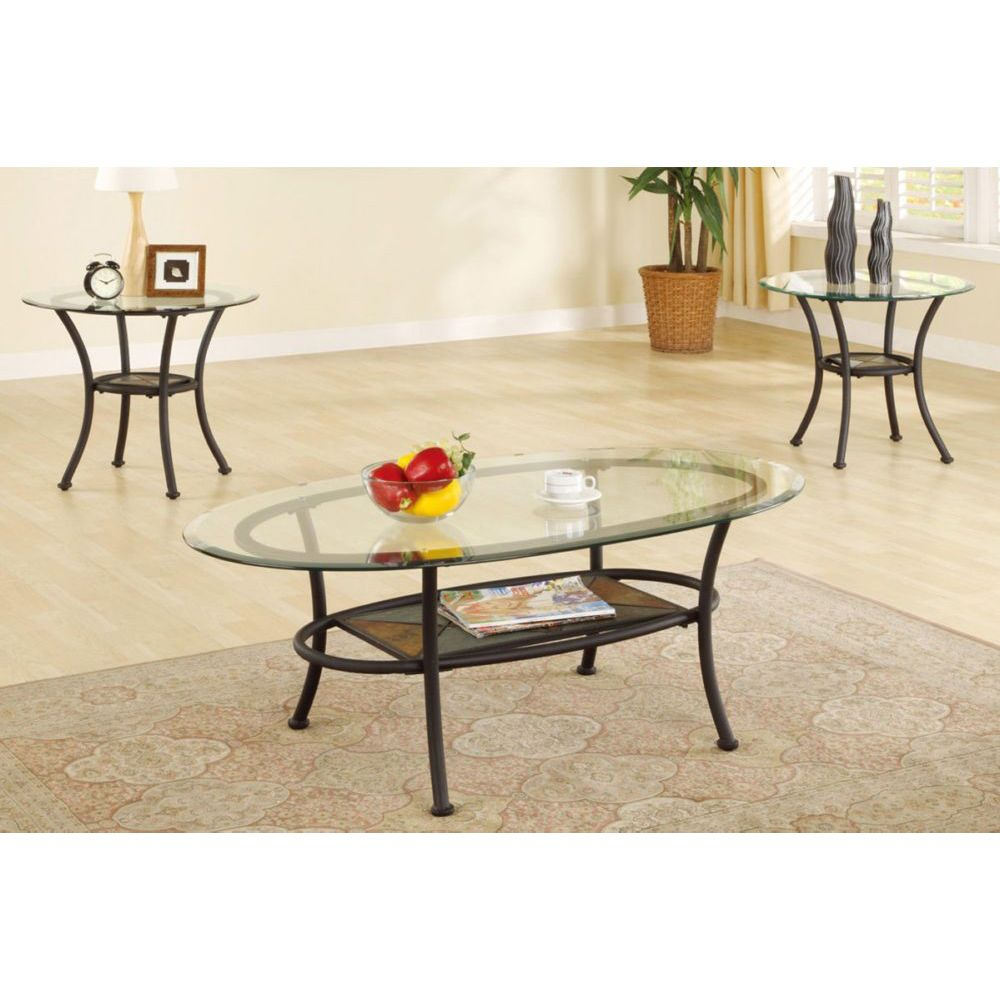 Pieces Glass Top Black Metal Occasional Oval Coffee Table Set