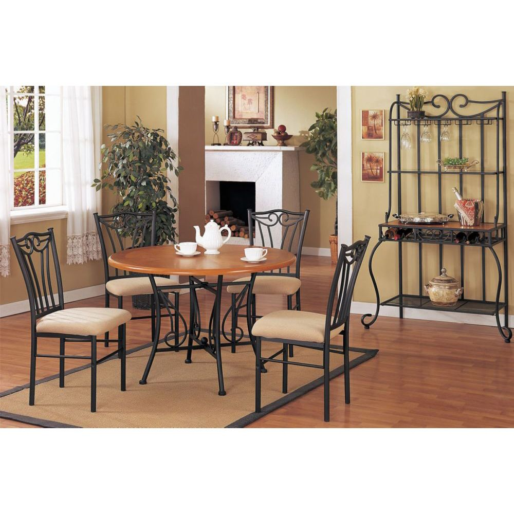 Pieces Medium Oak Metal Round Dining Table Set