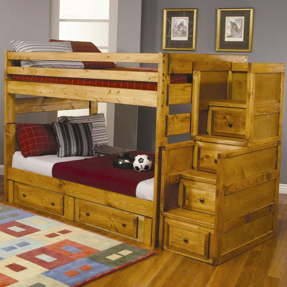 Amber wash storage drawer full full bunk bed with stairs chest