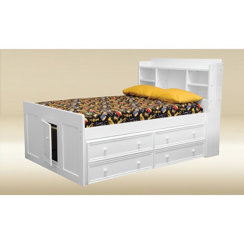 White Twin Bookcase Bed with Drawers 792 x 792