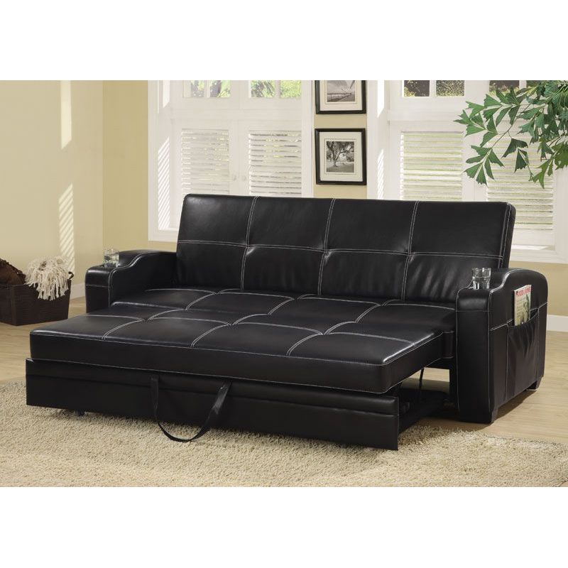 black faux leather storage sofa bed futon sleeper with cup holders