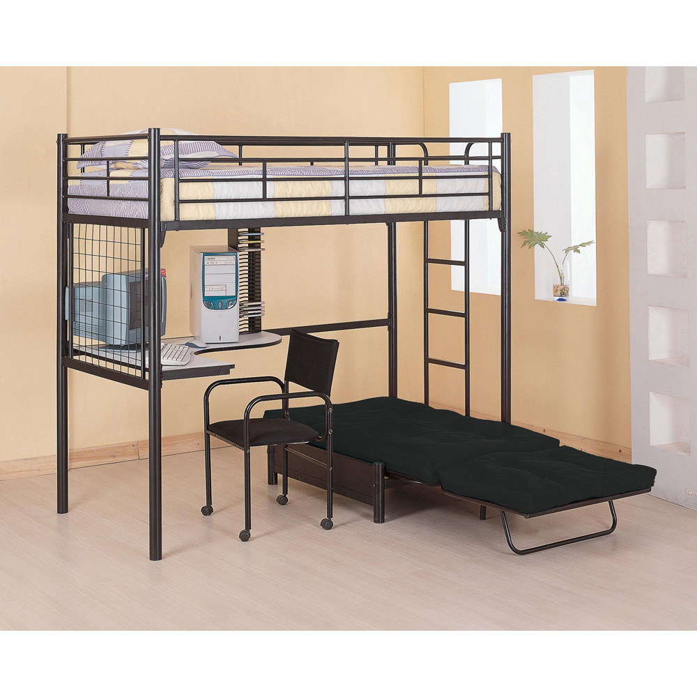 Black Metal Twin Futon Loft Bunk Bed with Chair Computer Desk Rack