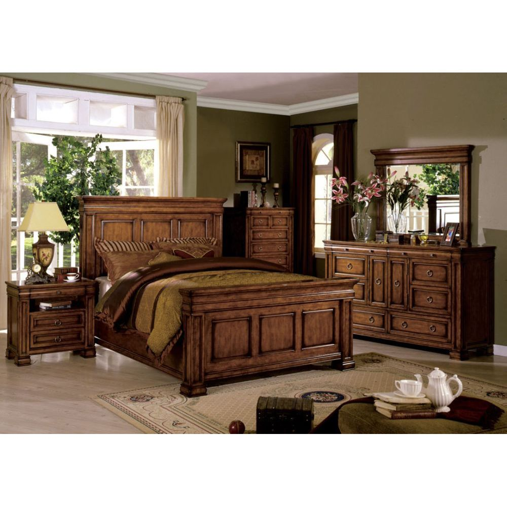 Cambridge Tobacco Oak 4 Pieces Queen Platform Bedroom Set