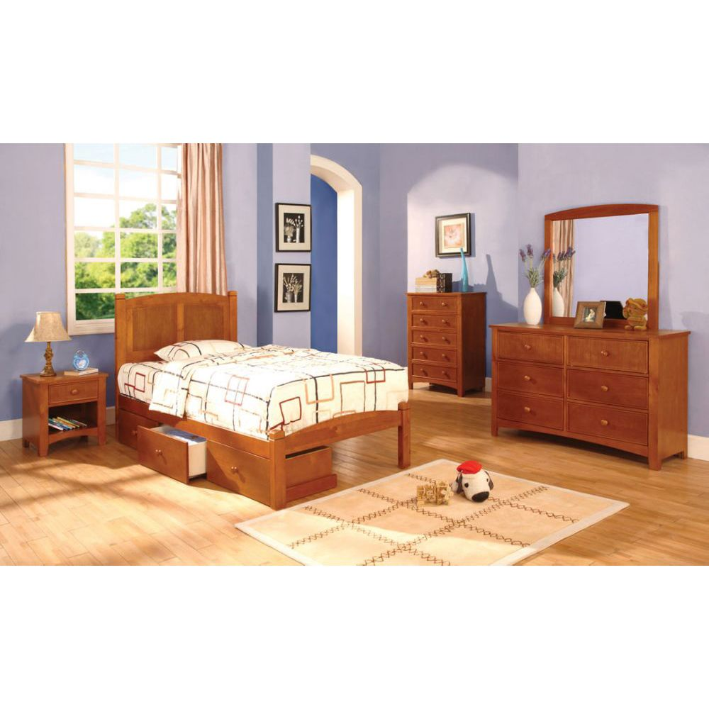 Cara Oak Kids Twin Platform Bedroom Set With Storage Drawers
