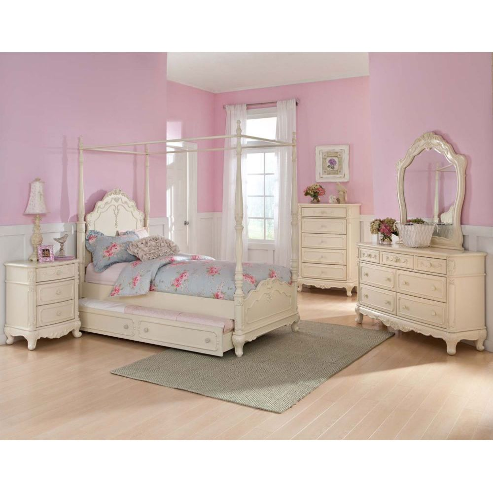 cinderella dream white ecru painted girls twin canopy bedroom set