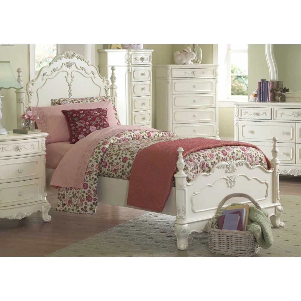 Cinderella Dream White Ecru Painted Girls Twin Poster Bed