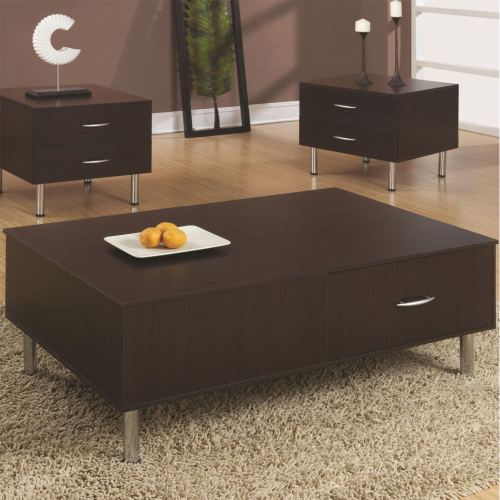 Coaster 702728 Contemporary Cappuccino Square Lift Top Coffee Table