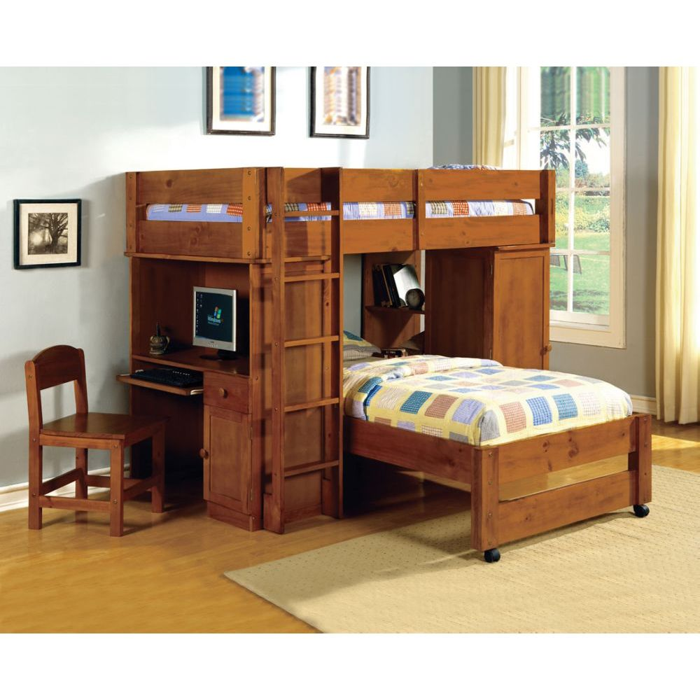 Oak Loft Bunk Beds with Desk 1000 x 1000