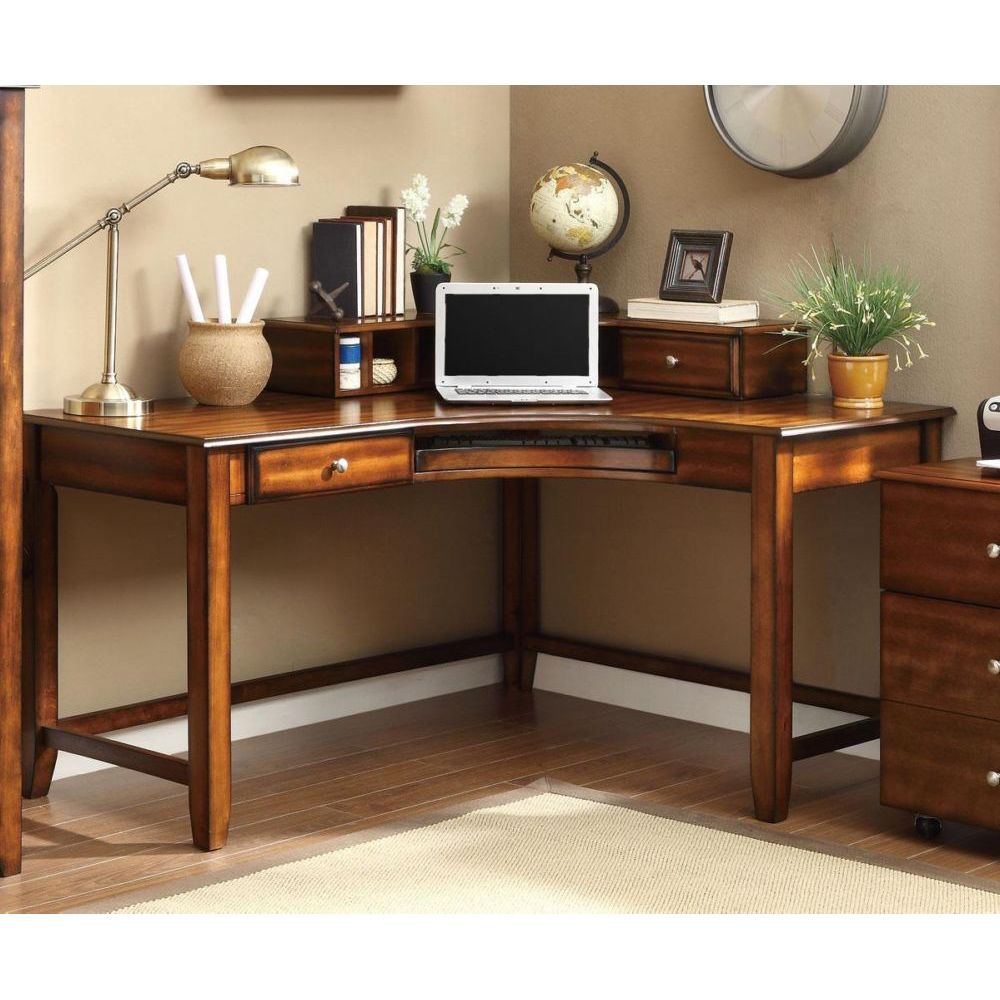 Coaster 800594 Jacqueline Walnut Corner Desk with Hutch