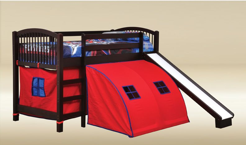 ... Twin Loft Bed With Slide And Tent 12 Kids Tents For Beds Toddler Bed