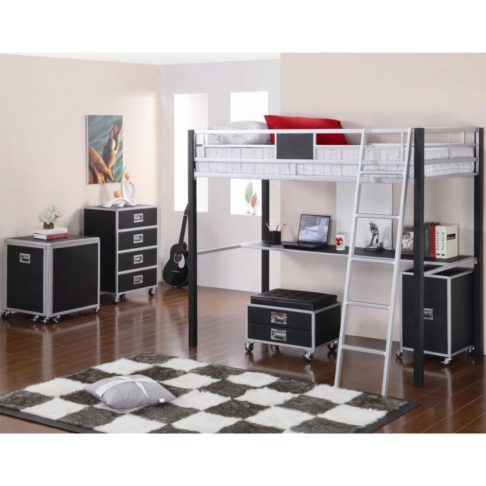 Metal Twin Loft Bed with Desk 1000 x 1000