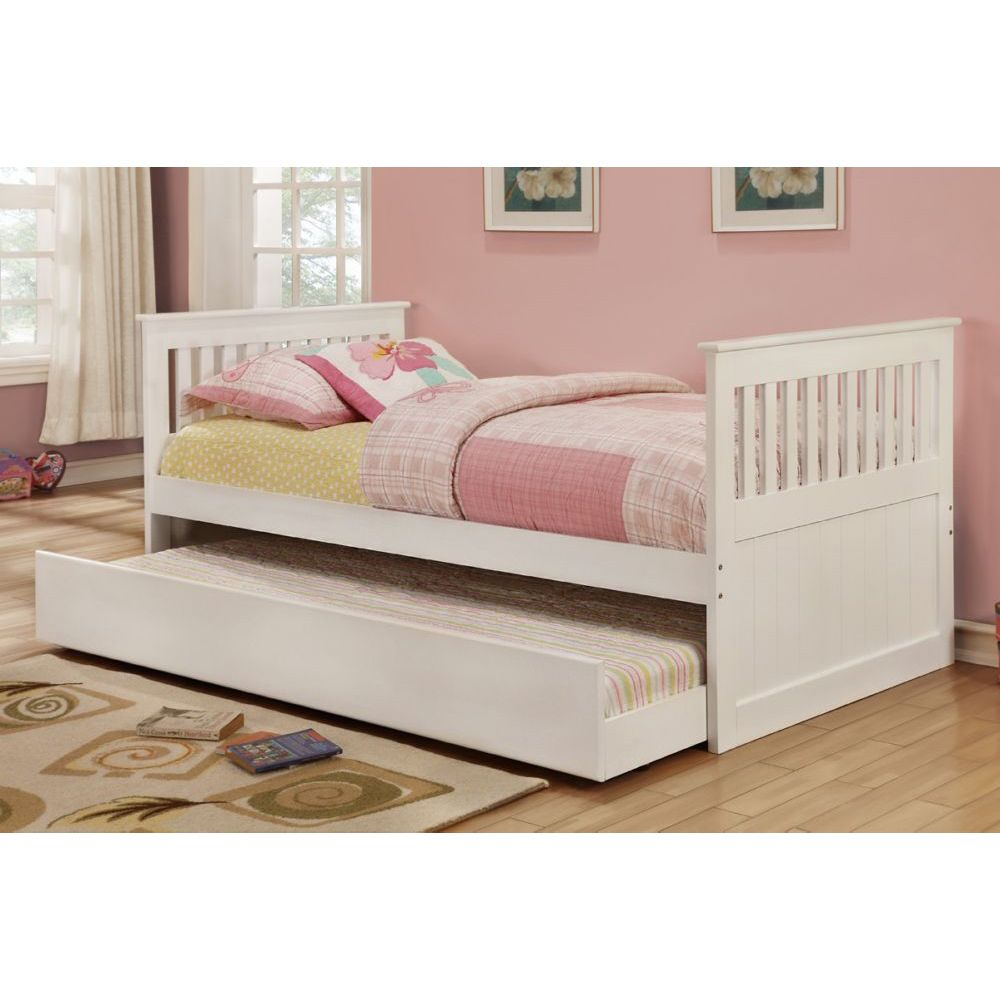 Modern white rubber wood twin bed with trundle