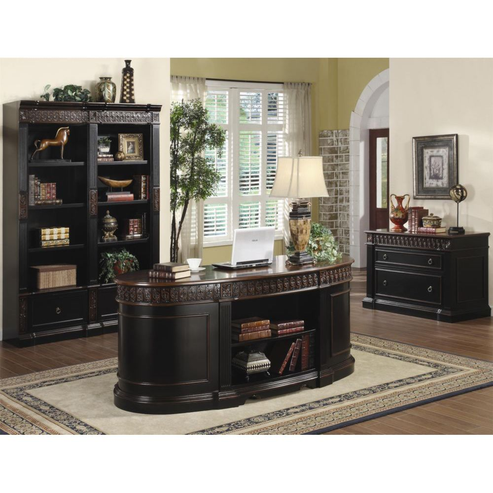 nicolas two tone oval executive home office computer desk set