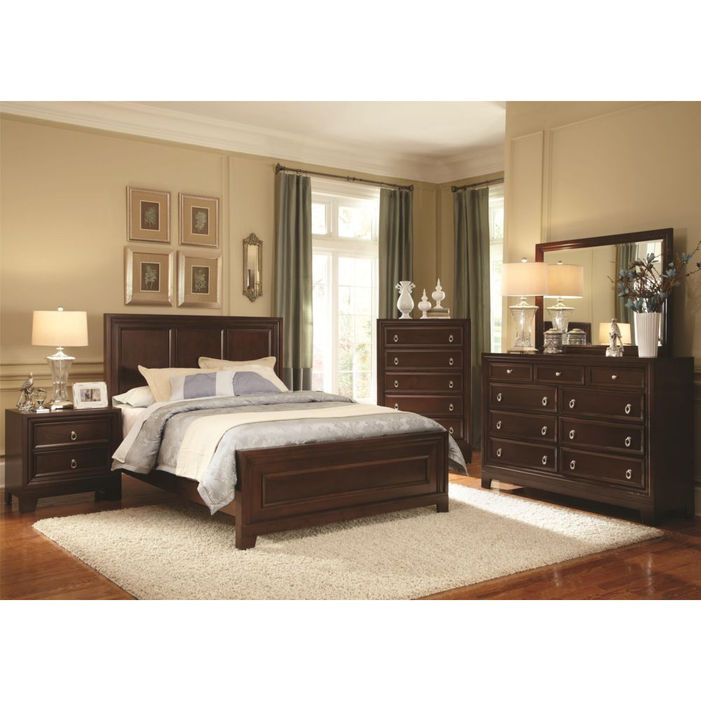 contemporary dark cherry wood king and queen bedroom furniture set