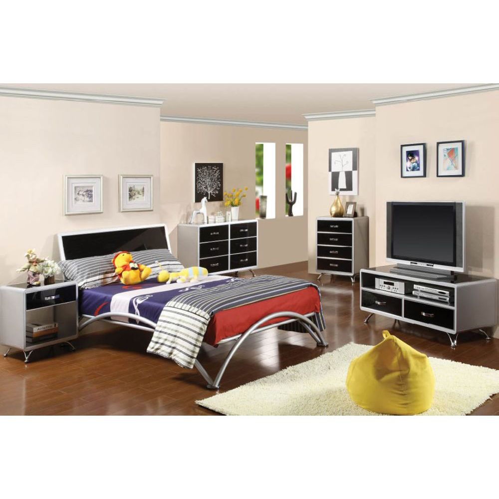 Otis Silver Black 2 Tone Kids Storage Full Metal Bedroom Set