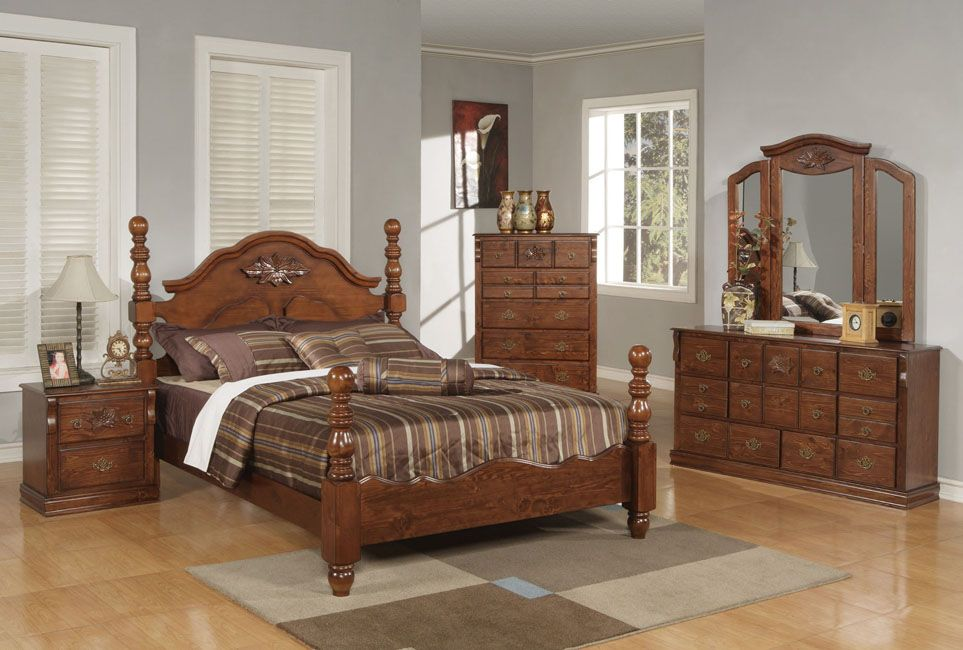ponderosa walnut 4 pieces queen poster bedroom set