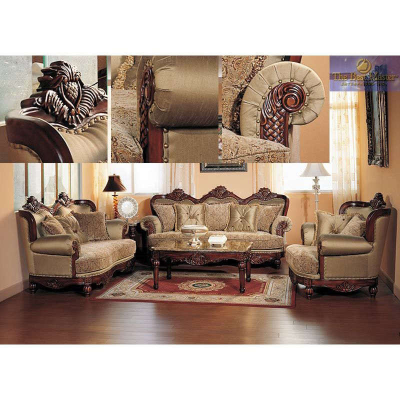 traditional antique olive fabric 2 pieces sofa living room set
