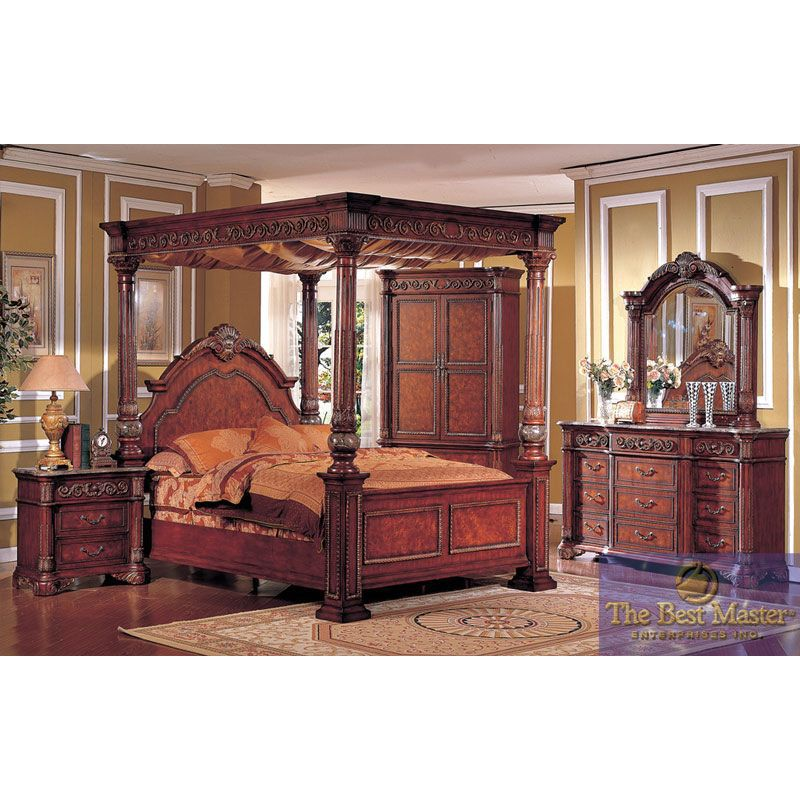pieces cherry king poster canopy bedroom set with marble top