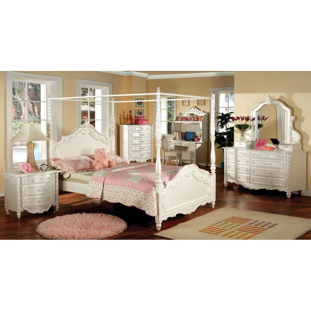victoria pearl white kids twin size canopy bedroom set