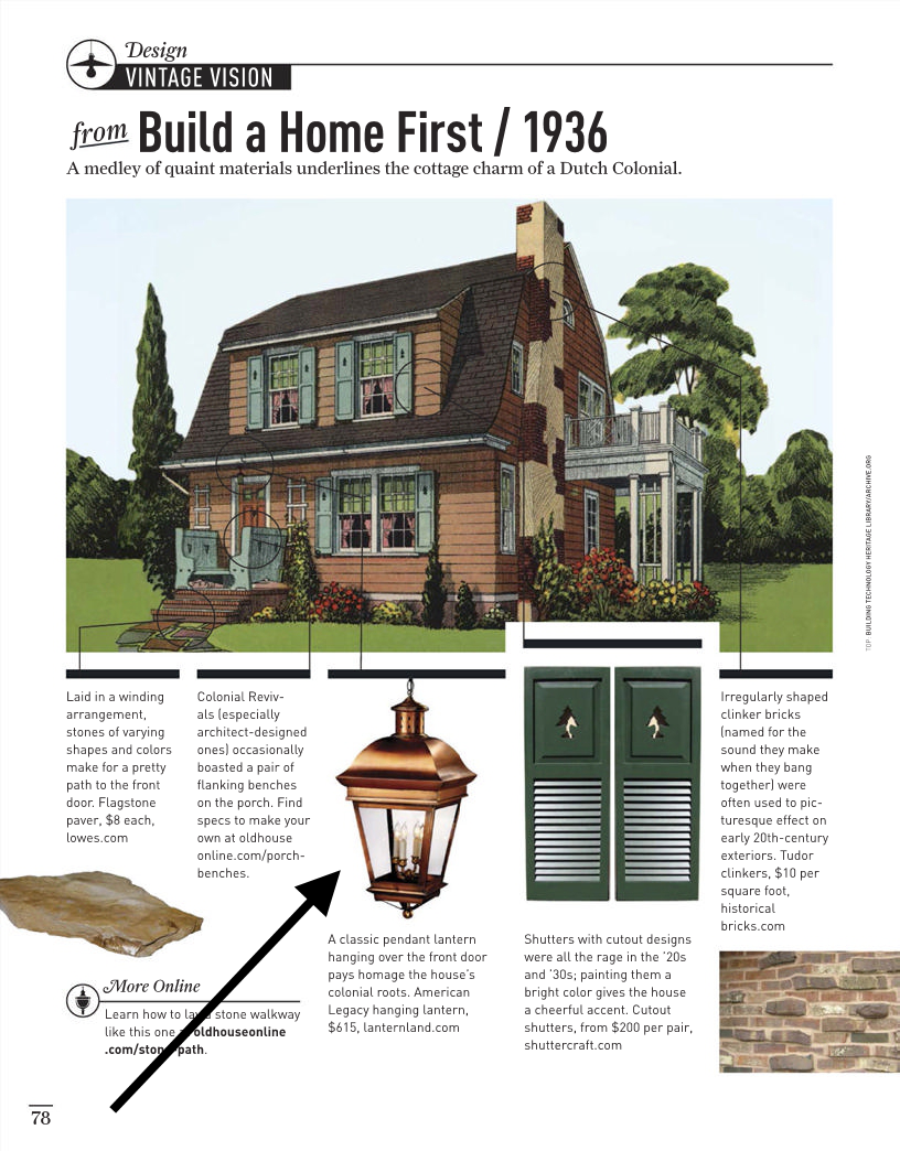 """<div class=""""as-shown"""">American Legacy Pendant as seen in Old House Journal May 2015 Vintage Vision section for a Dutch Colonial style home.<br>(Click image for full size version). </div>"""