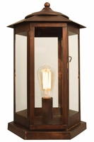 Baja Mission Style Pier  Column Mount Copper Lantern
