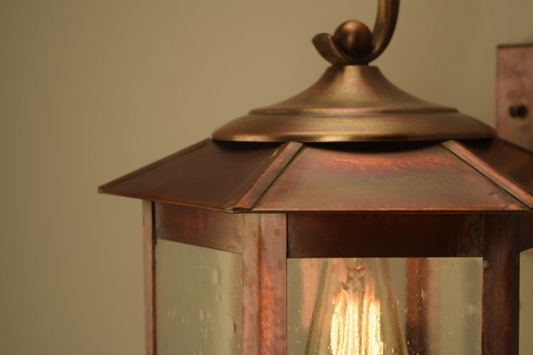 Baja Mission Style Wall Light with Bracket Copper Lantern - Picture #4