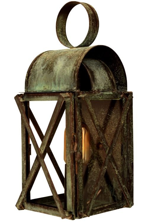 "<b>Bunker Hill Colonial Wall Sconce Copper Lantern</b><br>  Size: <b>Small - 14"" H x  6.5"" W x 6.5"" D""</b><br>Socket: <b>1-60W Medium Base</b><br>Finish: <b>Verdi Green</b><br> Glass:<b> Clear</b>"