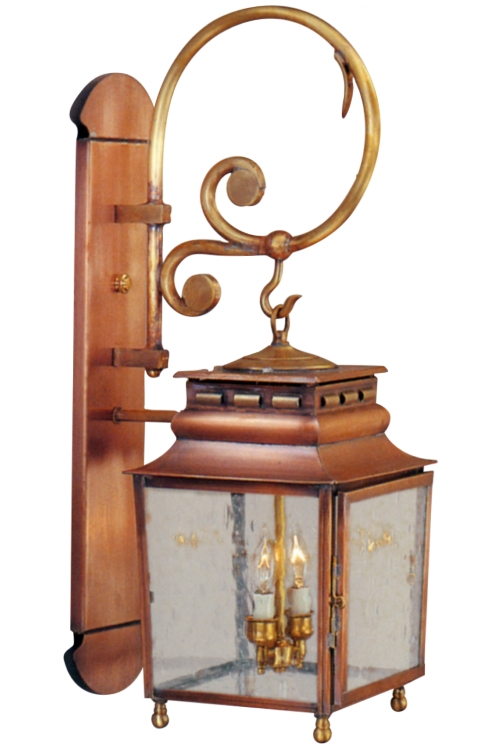 "As shown:<br> Finish: <b>Antique Copper</b><br> Glass: <b>Seeded</b><br> Size: <b>Small - 28.5"" H x 9.5"" W x 13"" D</b><br> Sockets: <b>2-60W Candelabra Sockets</b><br>"