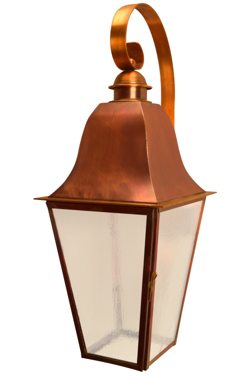 "<span style=""text-align:left;""> <b>Keene Wall Light with Bracket - Angled View</b><br> As shown:<br> Finish: <b>Flammed Copper</b><br> Glass: <b>Seeded</b><br> Size: <b>Large - 28.5"" H x 9.5"" W x 13"" D</b><br> Sockets: <b>1-60W Medium Socket</b><br><br> <b>Custom Version</b><br> <ul style=""width: 300px;float: left;margin-left:20px""><li style=""margin-bottom: 10px;"">Modified to meet Dark Sky requirements with bulb in roof of fixture facing downward.</li><li>Extra wide scroll</li></ul></span>"