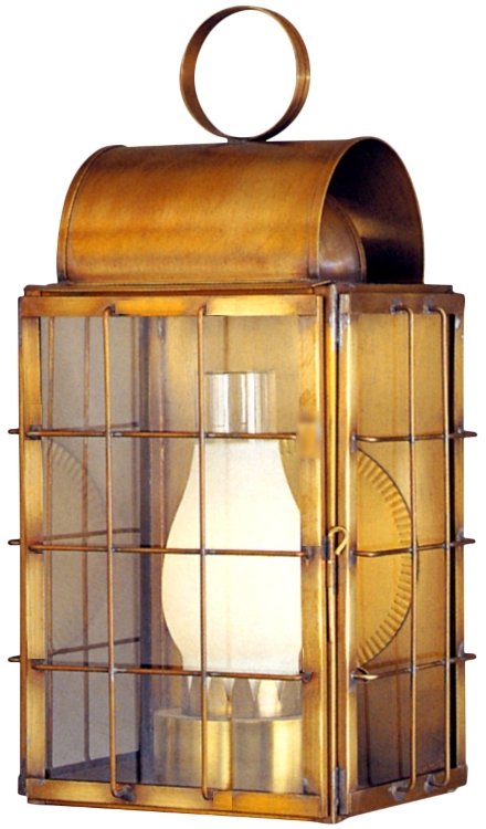 "As Shown:<br><b>Newport Harbor Wall Sconce - Profile</b><br>  Size: <b>20"" H x 10.5"" W x 8"" D</b><br>Socket: <b>1-60W Medium Base</b> <br>Finish: <b>Antique Brass</b><br>  Glass: <b>Clear</b>"