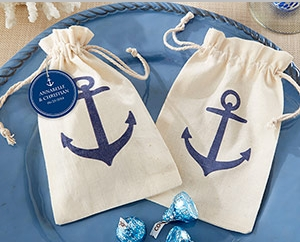 """Voyages"" Anchor Muslin Favor Bag (Set of 12)"" title=""""Voyages"" Anchor Muslin Favor Bag (Set of 12)"