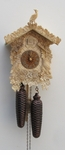 UNIQUE HAND CARVED BONE CUCKOO CLOCK