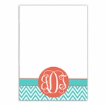 Aqua and Coral Chevron Large Notepad