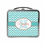 Aqua and Coral Chevron Lunchbox
