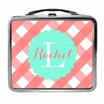 Buffalo Check Lunchbox in Aqua and Coral