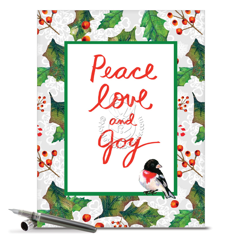 Christmas Words Birds Nobleworks By Design Christmas Greeting – Words for Christmas Card