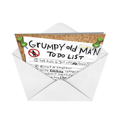 grumpy old man list birthday card  nobleworks, Birthday card