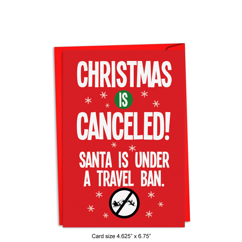 Santa Travel Ban Red Rocket Christmas Card Nobleworks