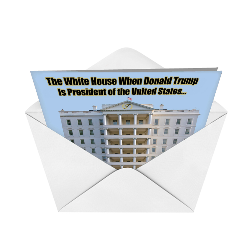trump white house red rocket birthday card nobleworks, Birthday card