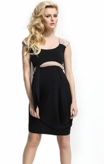 9fashion Maternity Calandra Crochet Dress Black