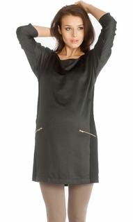 9Fashion Maternity Adora Satin Zip Tunic Black