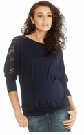 9Fashion Maternity Ayron Navy Crochet Top