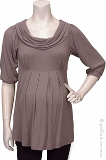 Maternity Clothes: Bellyssima Maternity Taupe Draped Pleat Top - Click to enlarge