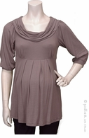 Bellyssima Maternity Taupe Draped Pleat Top