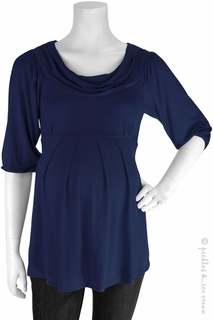 Maternity Clothes: Bellyssima Maternity Navy Draped Pleat Top - Click to enlarge