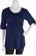 Bellyssima Maternity Navy Draped Pleat Top