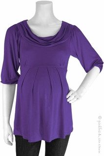Maternity Clothes: Bellyssima Maternity Purple Draped Pleat Top - Click to enlarge