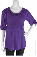 Bellyssima Maternity Purple Draped Pleat Top
