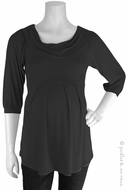 Bellyssima Maternity Black Draped Pleated Top