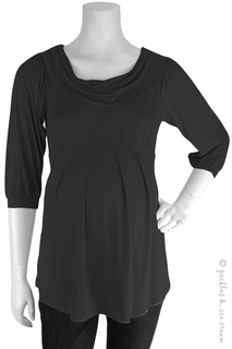 Maternity Clothes: Bellyssima Maternity Black Draped Pleated Top  - Click to enlarge